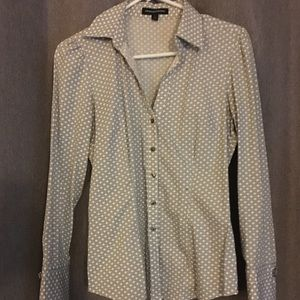 Express Charcoal gray and white button up